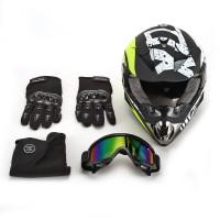 Motocross Motorradhelme Windschutzmaske Helm mit Handschuhe Gr.S
