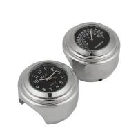 2er Motorrad-Lenker Thermometer + Uhr, Aluminium-Legierung Stoßfest