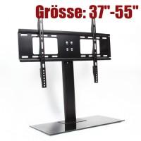 """TV Halter Standfuss Monitor Ablage Glas 37""""-55"""" bis 60kg schwarz"""