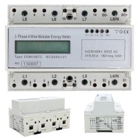 Hutschiene Wechselstromzähler 3 Phasen LCD Wattmeter DIN Rail weiß