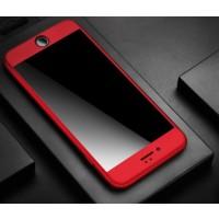 Hülle für iPhone 7plus Schutzhülle 360 Grad + Panzerglas, rot
