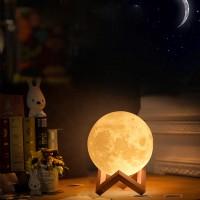 Mondnachtlicht 3D Mond Lampe Dock 3 Farben dimmbar USB LED Nachtlicht