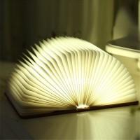 Buchlampe faltbar Tischlampe Holz Buch LED Lampe Nachtlicht USB Kabel