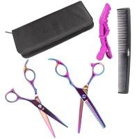 5tlg.Haarschneideschere Set Buntes Friseurschere, Kamm Haarklemme