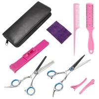 Haarschneideschere Set, Friseurschere, Pony Clip, Effiliermesser