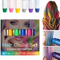 Haarkreide Metallische Glitter Temporäre Haarkreide 6Farben Hair Color