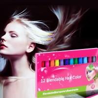 Haarkreide Metallische Glitter 12 Farbe Temporäre Haare Kreide Stifte