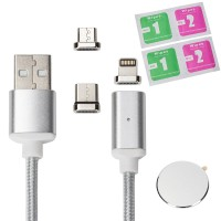 Magnet Ladekabel für Lightning, USB Type-C und Micro-USB, 1M 3-in-1 Adapter