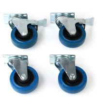 Lenkrollen Bockrollen 4 x blau Elastik Wheels Räder Rollenset 100 Kg