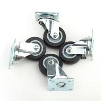 4 Stück Lenkrollen für Möbel mit Anschraubplatte Kugellager, 50 mm