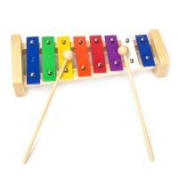 Hölzernes Xylophon 8 farbige Klangplatten Alu-Platte für Kinder