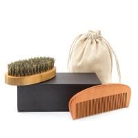 Bartbürste und Bartkamm Set 2 PACK Bartpflege Set Holzkamm und Bürste