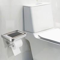 Papier Halter Rollenhalter Wandhalter für WC Toilette Alu Silber