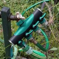 Schlauch Wasserhahn Splitter Adapter Ventil 4 Wege Verteiler Set grün