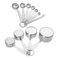 Measuring Cups Messlöffel mit Meßlineal 11Pcs Set Edelstahl silber