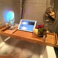 Badewannenablage Halter Spa Organizer Bambus für Bücher oder Tablets