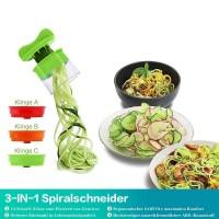 3 in 1 Gemüse Spiralschneider Gemüsehobel Hand für Gemüsespaghetti