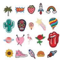Aufkleber Patch Stickerei Applikationen 20er Set für Kleidung DIY