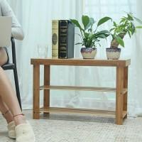 Schuhregal Schuhschrank Schuhbank mit Sitzbank Bambus 3 Ablagen