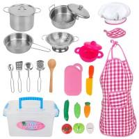 Küchenspielzeug Küche Pretend Spielzeug Set mit Kochgeschirr Töpfe
