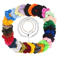 3Pcs Damen Halskette Perlen Kette mit 30Pcs Bunte Samt Hair Scrunchie