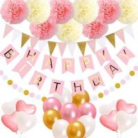Geburtstag Dekoration Wabenbälle Grosse Geperlte Ballons Mädchen Set
