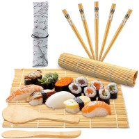 10tlg Sushi Set Bambus Sushi Matte Sushi Maker für Anfänger