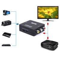 Video Audio Konverter Adapter, HDMI zu AV, für DVD-Player, Schwarz