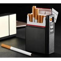 Zigarettenetui Zigarettenbox Aluminium mit Feuerzeug Aufladbar 2in1