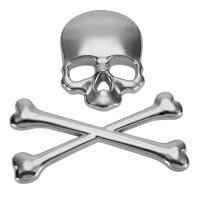 Auto 3D Aufkleber selbstklebende Metall Skull silber