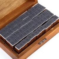70-tlg. Holz Gummi Stempel Set Box Holz Stempelset Alphabet