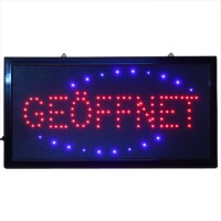 LED Leucht-Schild OPEN Leuchtreklame geöffnet Werbung, rot blau