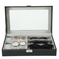 2 in 1 Uhrenbox Brillenbox für  6 Uhre  3 Brille, mit Schaufenster