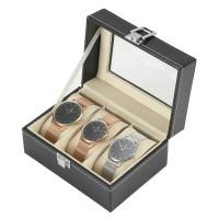 Uhrenbox Uhrenaufbewahrung für 3 Uhren Uhrenkästchen schwarz