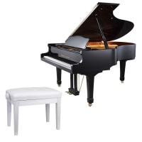 Klavierbank Pianobank Klavierstuhl Holz weiss höheinstellbar 46-56cm