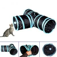 Katzentunnel Rascheltunnel Katzenspielzeug 3-Wege Spieltunnel blau
