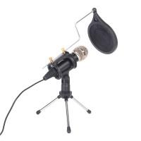 Kondensatormikrofon Standmikrofon Aufnahmemikrofon mit Stativ Schwarz