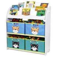 Kinder Aufbewahrungsregal Bücherregal Spielzeugkiste mit 4 Schubladen
