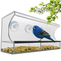 Vogelfutterstation Vogelhaus Vogelfutterspender Acryl mit Saugfuss