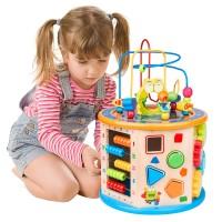 Motorikwürfel Holzspielzeug Mehrzweck Spielzeug 8 in 1 für Kinder