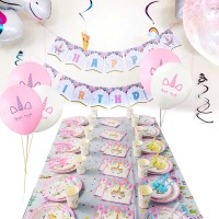 Einhorn Party Supplies Kinder Geburtstag Einweg Party 114 Stück Set