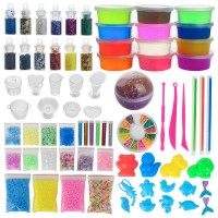 Slime Fluffy Schleim Set Kinder DIY Glitter Slime Kit Selber Machen