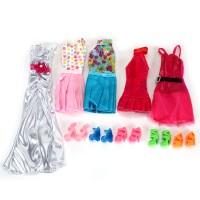 5 Fashion Kleider mit 5 Paar Schuhen Partymoden für Kinder Geschenk