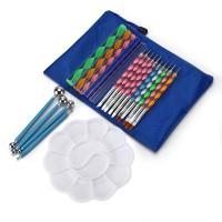 32pcs Mandala Malbürsten Werkzeugsätze Set mit Farbwanne zum Malen