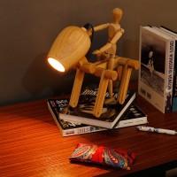 Schreibtisch Tischlampe Nachtlicht Tischleuchte Hölzerne Hund-Form