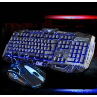 Gaming Tastatur und Maus Set,mechanische Tastatur und Maus Set– 3 Farben Hintergrundbeleuchtung  für Windows 7 / Windows 8 / Vista / XP Desktops / Laptops, Smart TV, schwarz