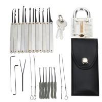 15pcs Lockpicking set mit 2 Schlüssel Schließzylinder Vorhängeschloss