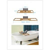 Badewannenablage Bambus mit Buchstütze Ablage Kaufen HxBxT 4,1 x 104 x 22 cm Weinglashalter Badewannenbrett Ablage