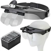 Kopfbandlupe Stirnlupe Kopflampe mit LED, Vergrößerung, verstellbar,