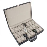 Uhrenbox Uhrenschatulle für 36 Uhren Uhrenkoffer schwarz Leder